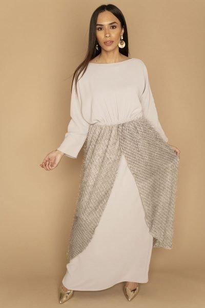 Fringe Wrap Dress | Grey