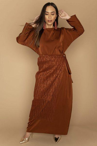 Pleated Apron & Dress Set   Burnt Orange