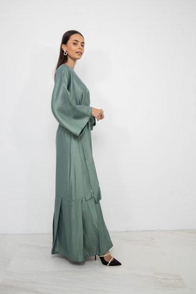 Metallic Pleated Hem Dress | Pine Green