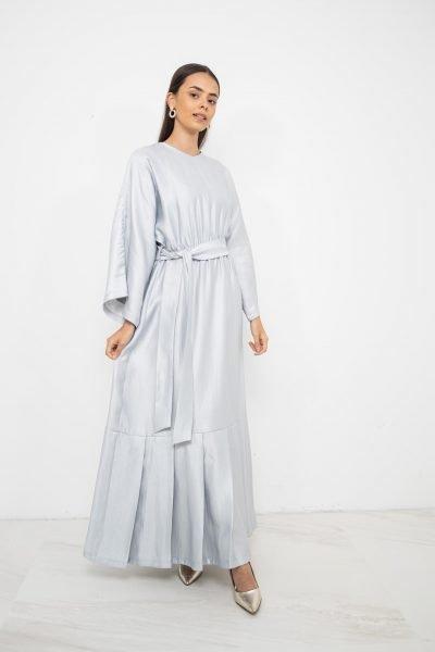 Metallic Pleated Hem Dress   Silver