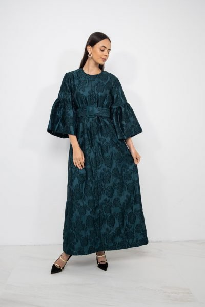 Puffy Sleeve Textured Dress | Bottle Green