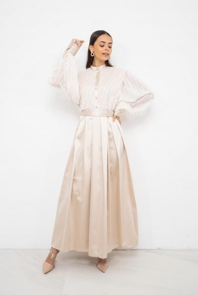 Satin Shirt Dress | Ivory