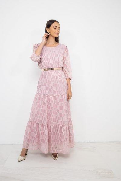 Tiered Chiffon Dress   Powder Pink